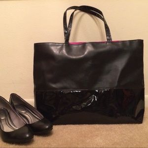 Calvin Klein Tote Black with Black Patent Trim